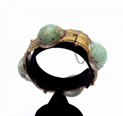 Old Chinese Jadeite Carved Carving Plaque Copper Bangle Bracelet