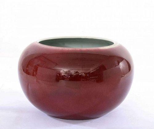 Chinese Oxblood Flambe Sang Boeuf Langyao Style Porcelain Scholar Bowl
