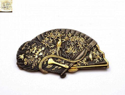 Japanese Gilt Mixed Metal Shakudo Bird Flower Fan Shape Pin Brooch