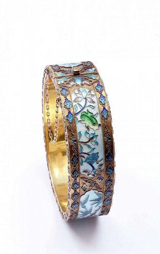Chinese Gilt Silver Enamel Bangle Bracelet Frog Bamboo Marked