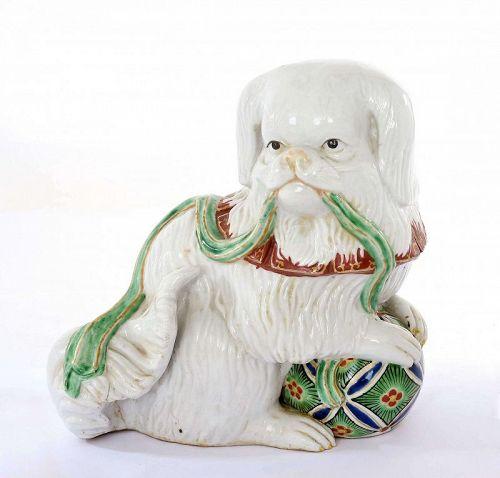 Old Japanese Kutani Porcelain Pekingese Dog Playing Ball