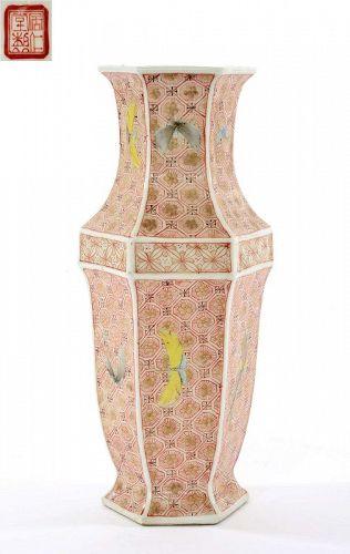 Old Chinese Famille Rose Porcelain Vase Butterfly Mk