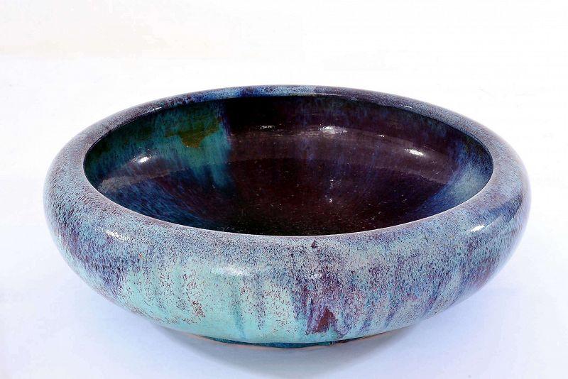 19C Chinese Flambe Glaze Scholar Porcelain Brush Washer Bowl