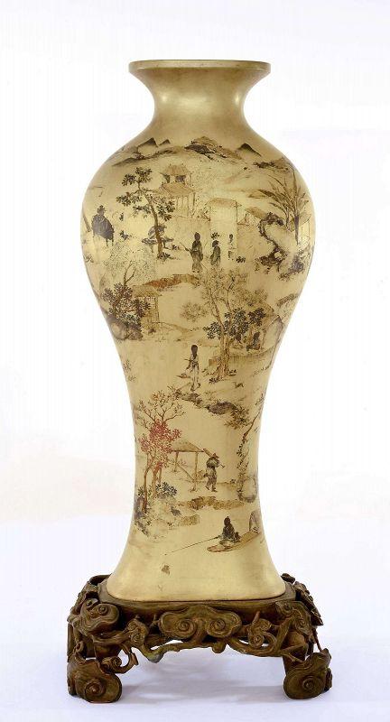 19C Chinese Foochow Foo Chow Fuzhou Fujian Lacquer Vase