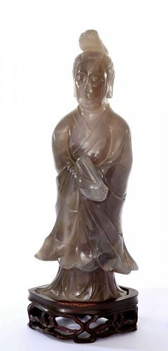 Old Chinese Agate Carved Carving Lady Figurine Wood Stand