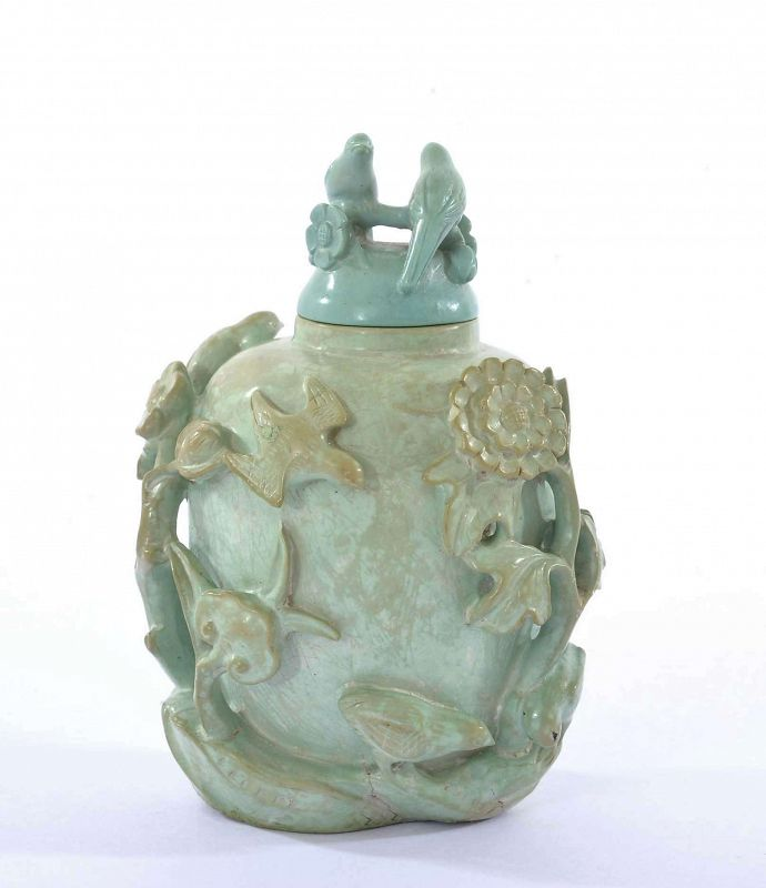 19C Chinese Turquoise Carved Carving Snuff Bottle Bird Flower