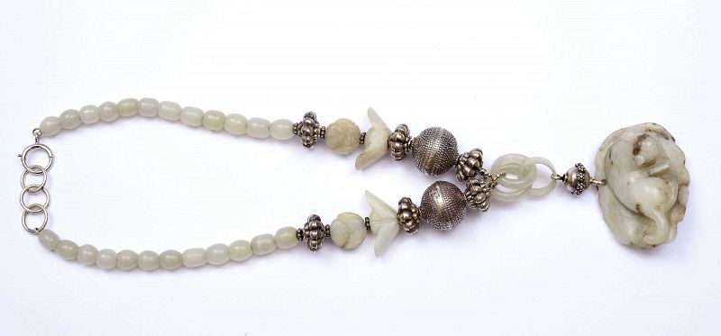 18C Chinese Jade Carved Tiger Pendant White Jade Bead Silver Necklace