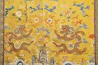 Chinese Silk Embroidery Textile Panel Gold Threads Dragon Tapestry