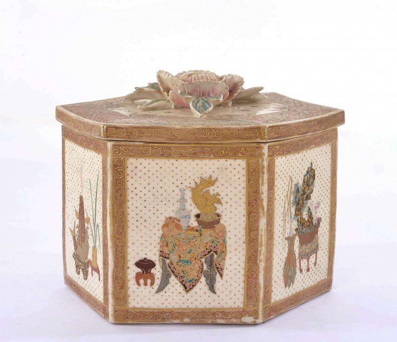 Old Japanese Satsuma Earthwear Box Flower