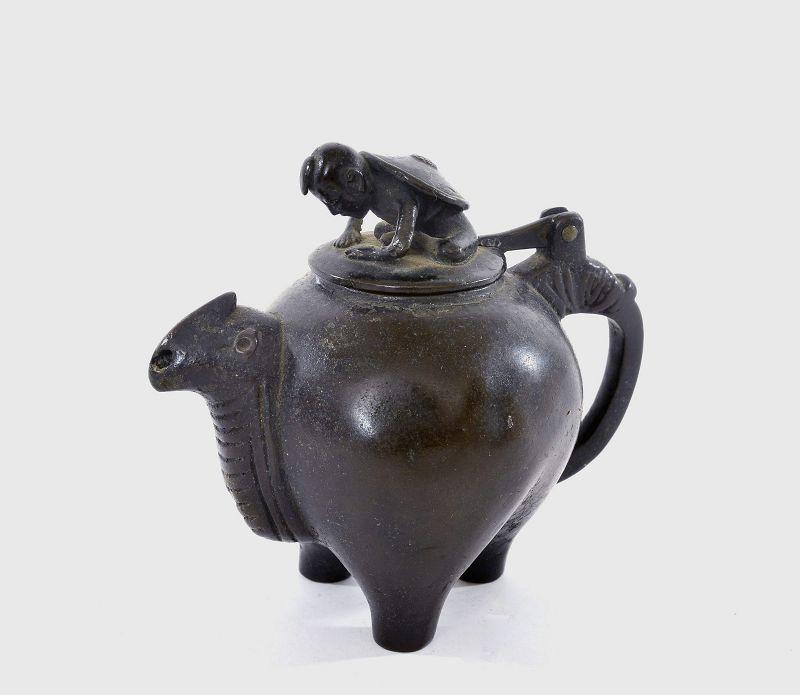 18C Chinese Bronze Beast Scholar Water Dropper Boy
