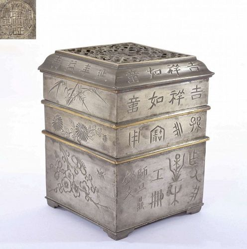 Old Chinese Pewter with Brass Incense Clock Burner Calligraphy Marked