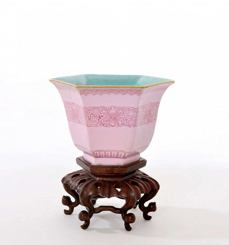 Chinese Famille Rose Turquoise Glazed Porcelain Tea Cup Wood Stand Mk