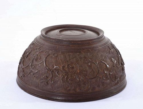 Late 18C Chinese Lacquer Coconut Carved Carving Bowl Flower