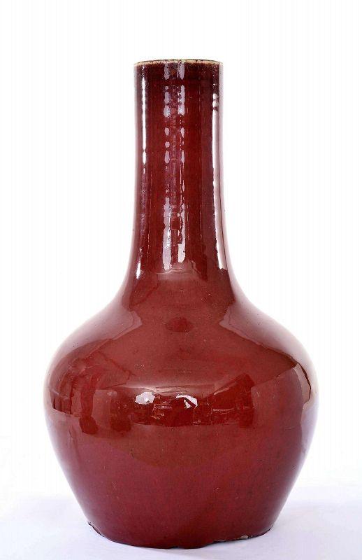 19C Chinese Flambe Ox Blood Oxblood Sang Boeuf Langyao Style Vase