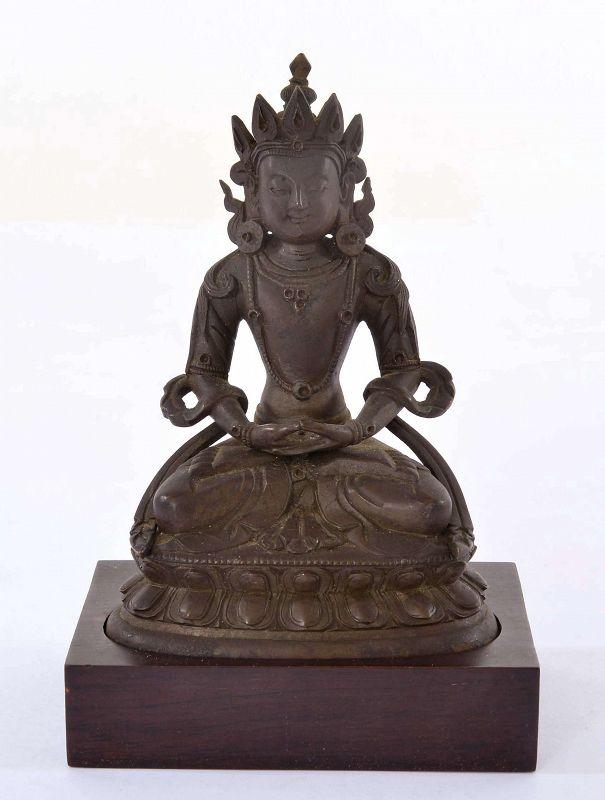18C Qianlong Chinese Lacquer Bronze Seated Buddha