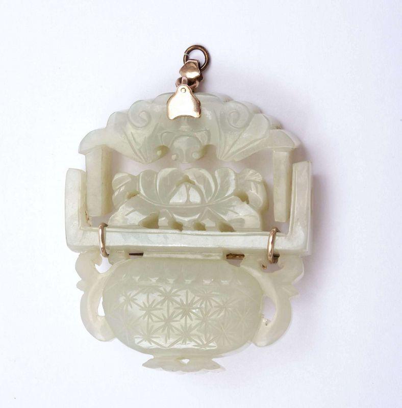 19C Chinese 10K Gold Jade Carved Plaque Pendant Bat Basket Mk