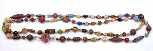 Chinese Amber Glass Bone & Japanese Ojime Netsuke Carved Bead Necklace