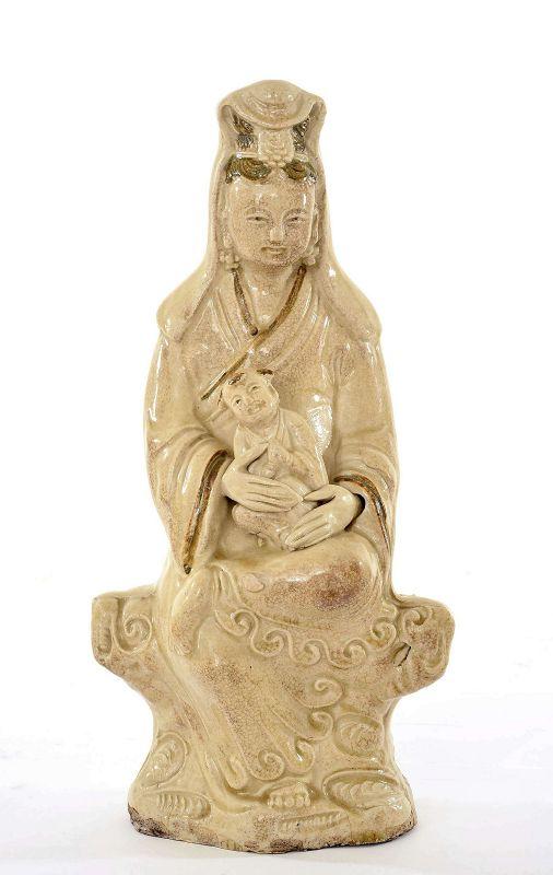 17C Chinese Cizhou Pottery Figure of Kwanyin Guanyin Buddha