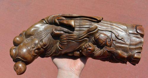 19C Chinese Bamboo Shoulou Shou Xing God Longevity & boy Figurine