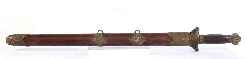 2 Old Chinese Sword Jian Bronze Brass Wood Scabbard