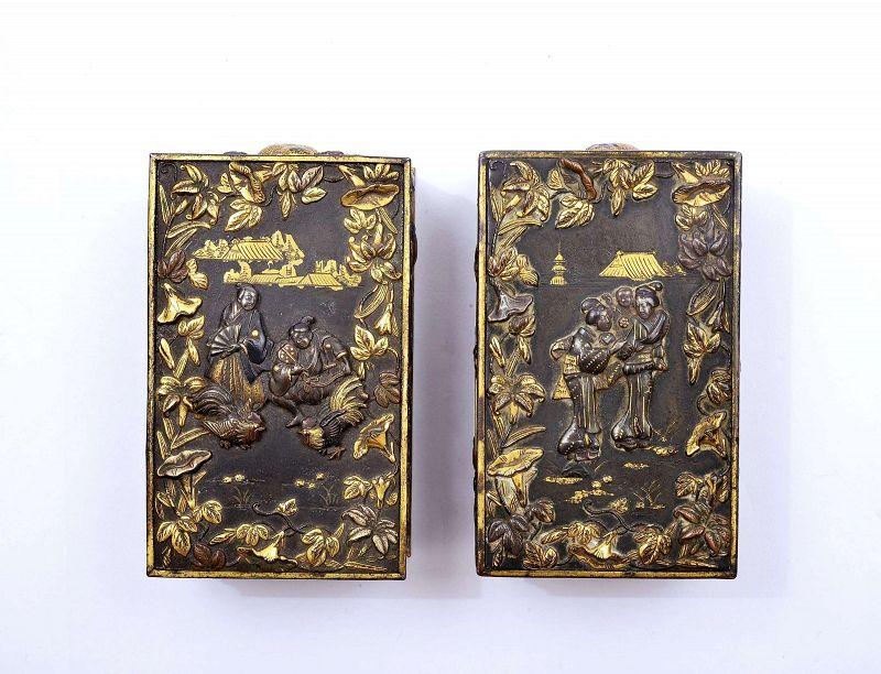 2 Japanese Mixed Metal Gold Komai Style Box Geisha & Samurai Rooster