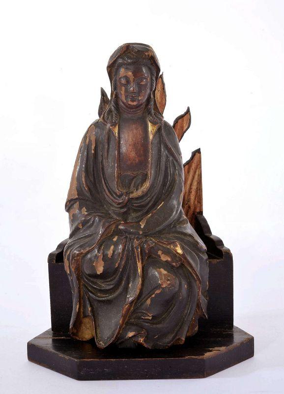 17C Chinese Gilt Lacquer Wood Carved Kwan Yin Buddha Figurine