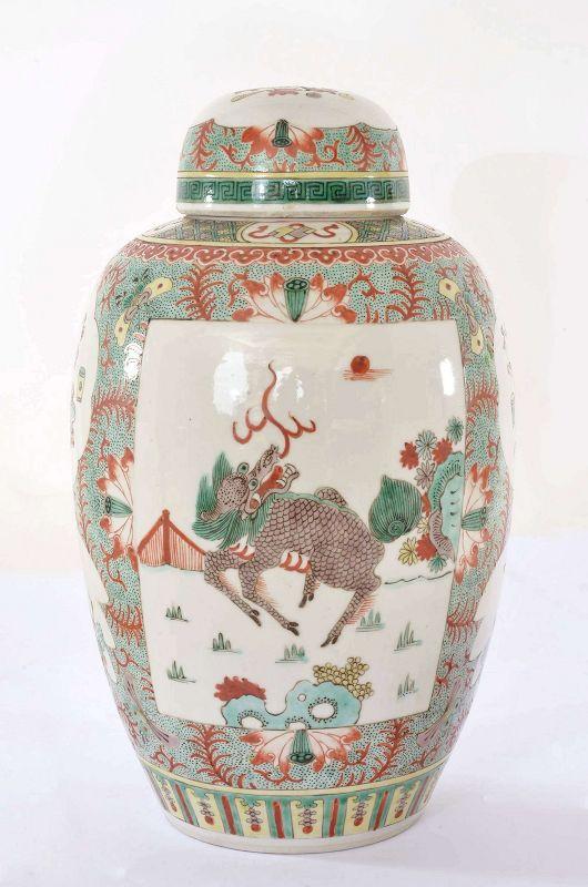 Old Chinese Famille Rose Verte Porcelain Covered Jar Vase Kilin Beast