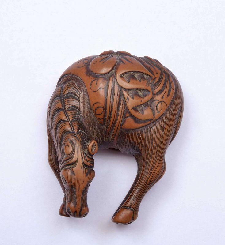 18C Japanese Wood Carved Carved Netsuke Horse
