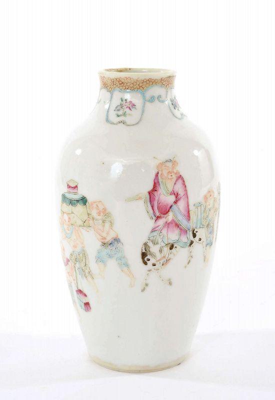 18C Chinese Famille Rose Porcelain Vase Zhong Kui 鍾馗