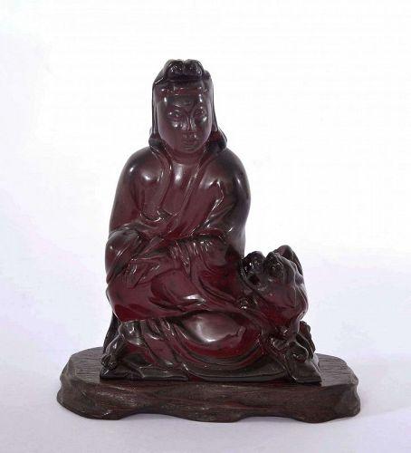 Chinese Dark Cherry Amber Bakelite Carved Guan Quan Kwan Yin Buddha
