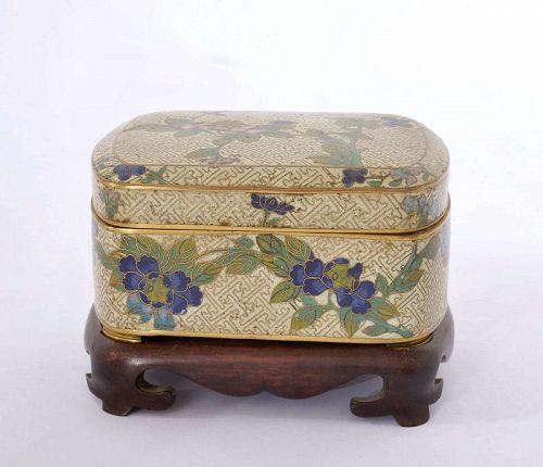 19C Chinese Cloisonne Jewelry Box Flower Plum Wood Stand Mk