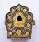 Old Tibetan Gilt Silver and Brass Fau Ghau Prayer Box Buddha Shrine