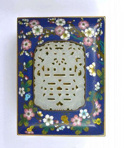 19C Chinese white Jade Carved Pendant Cloisonne Enamel Box