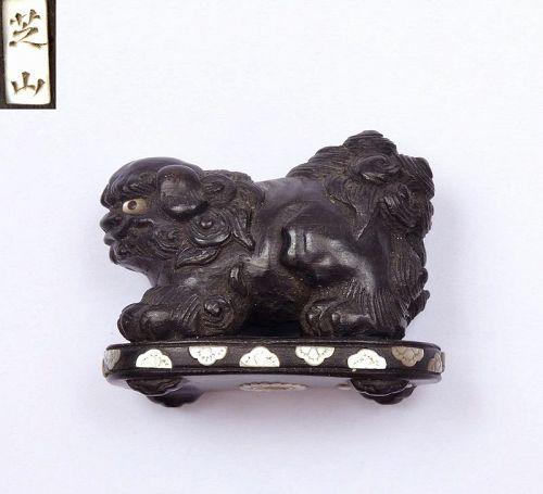 Old Japanese Shibayama Wood carved Fu Foo Dog Lion Shishi Netsuke SG
