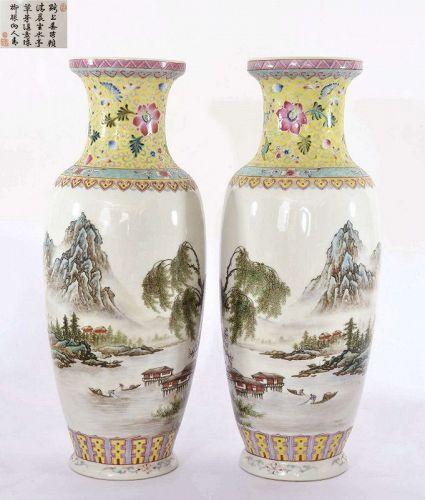 2 Chinese Famille Rose Porcelain Vase Mountain River Scene Poem
