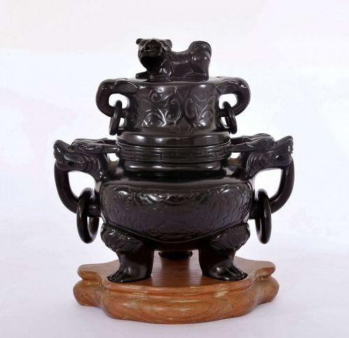 Chinese Dark Cherry Amber Bakelite Carved Carving Censer Dragon