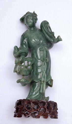 Old Chinese Jade Jadeite Carved Carving Lady Figure Figurine