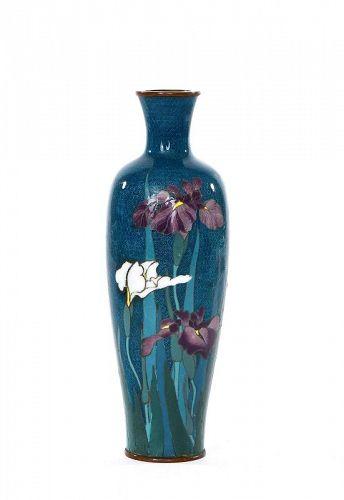 1920's Japanese Silver Wire Cloisonne Vase Iris Hayashi