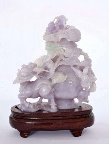 Chinese Lavender Jadeite Carving Dragon Head Kirlin Bat Covered Vase