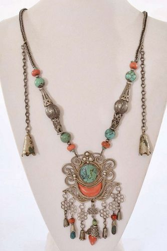 Chinese Yunnan Tibetan Silver Pendant Agate Turquoise Coral Necklace