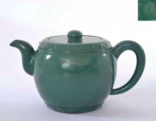 Old Chinese Green Enamel Yixing Zisha Pottery Drum Shaped Teapot Mk