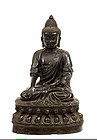Lg 17C Chinese Bronze Seated Buddha Lotus Seat