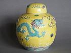 Early 20thCent  Yellow Ground Dragon Jar Wang Bing Rong