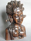Carved Striped Ebony Bust of Lady, Bali circa 1930-1960