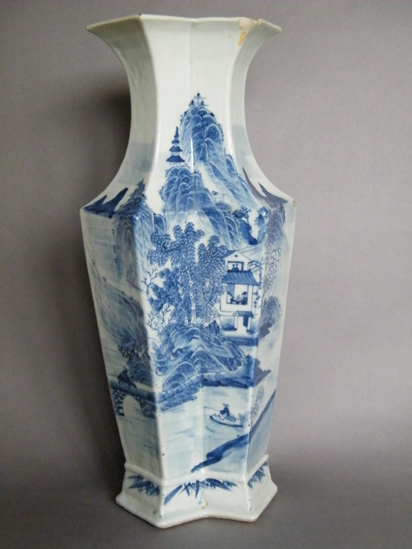 Fine & Rare Large Eight-sided Landscape Vase Early 19th Century