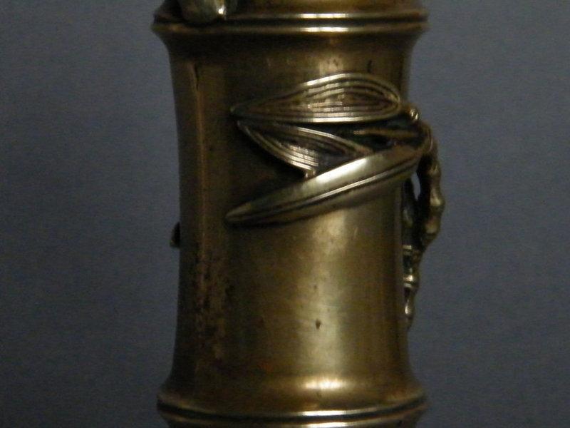 Rare 17th Century Bamboo Form Bronze Flower Vase