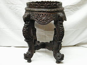 Heavily Carved Anglo Indian Hardwood Stand c1870-1910