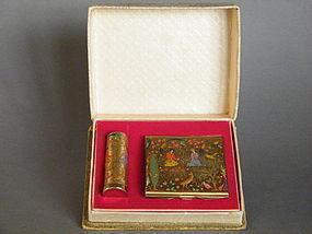 Stratton Persian Pattern Compact & Lipstick Holder