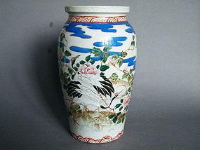 19th Century Arita Porcelain Cranes & Peony Vase, Japan