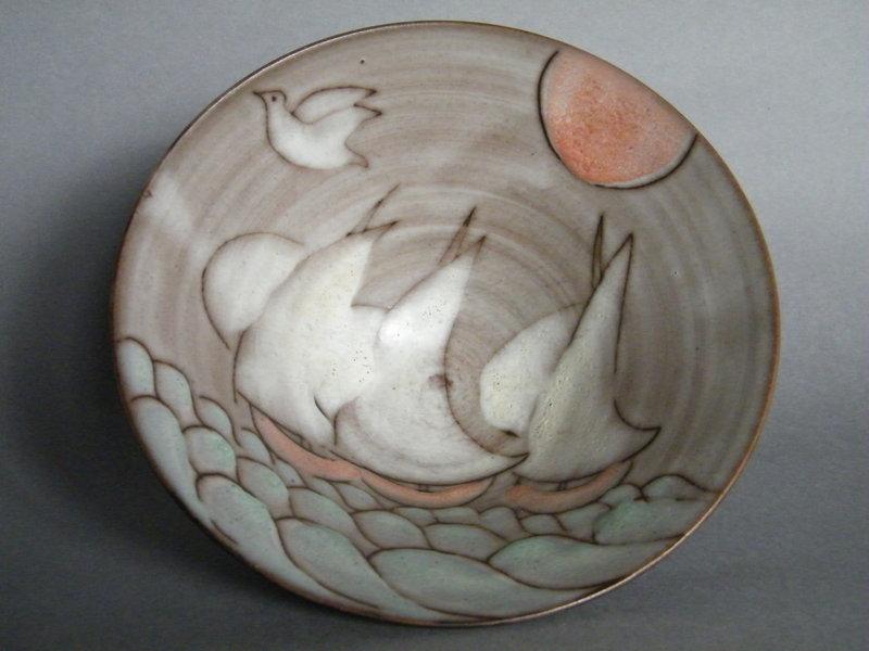 Rare Sailing Ships' Studio Pottery Bowl by Tessa Fuchs